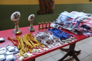Display of trophies, medals, kits